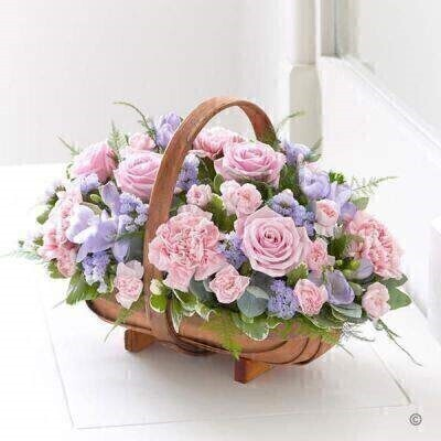 Pink and Lilac Flowers - Sympathy Flowers in a basket
